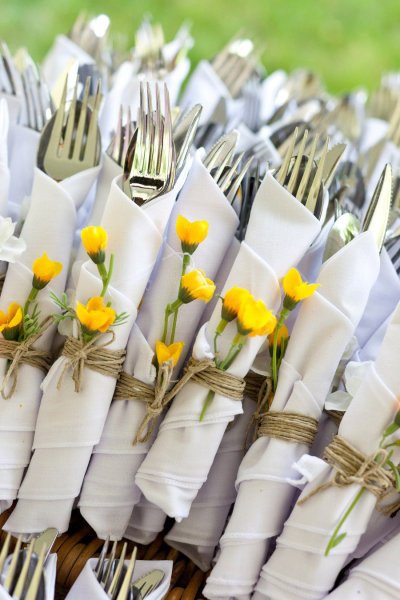 wrapped silverware